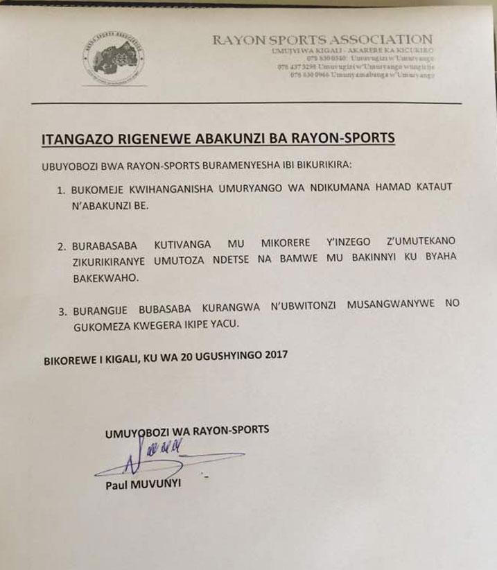 Iri tangazo ryashyizweho umukono n'umuyobozi wa Rayons Sport Paul Muvunyi