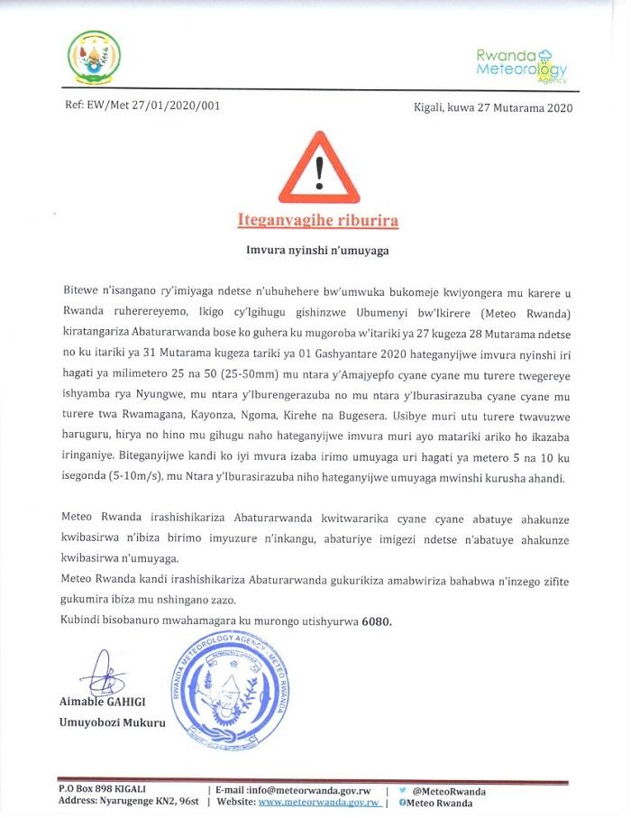 Itangazo rya Meteo Rwanda